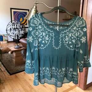Free People Green Embroidered Blouse